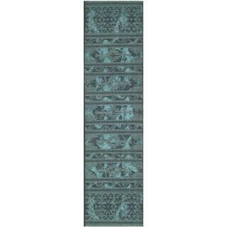 "Safavieh Palazzo Oriental Black/Turquoise Overdyed Chenille Rug (2' x 7'3"")|https://ak1.ostkcdn.com/images/products/8058792/8058792/Safavieh-Palazzo-Black-Turquoise-Over-dyed-Chenille-Rug-2-x-73-P15415542.jpg?impolicy=medium"