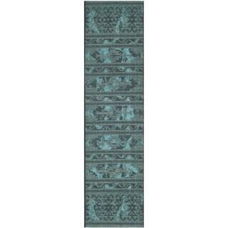 Safavieh Palazzo Black/ Turquoise Overdyed Chenille Runner Rug - 2' x 7'3