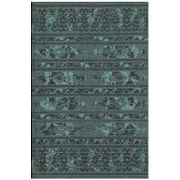 "Safavieh Palazzo Black/ Turquoise Overdyed Chenille Area Rug - 2'6"" x 5'"