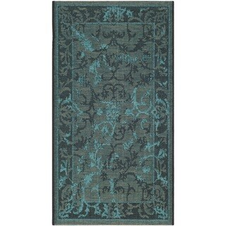 "Safavieh Palazzo Black/Turquoise Overdyed Chenille Indoor Rug (2' x 3'6"")"