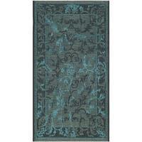 "Safavieh Palazzo Black/ Turquoise Overdyed Chenille Area Rug - 2' x 3'6"""