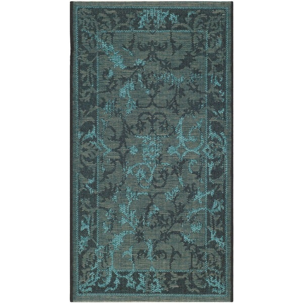 Safavieh Palazzo Black/ Turquoise Overdyed Chenille Area Rug - 2' x 3'6