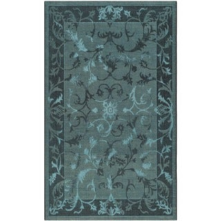 Safavieh Palazzo Transitional Black/Turquoise Overdyed Chenille Rug (2' 6 x 5')