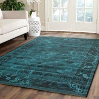 Safavieh Palazzo Black/ Turquoise Overdyed Chenille Area Rug - 5' x 8'