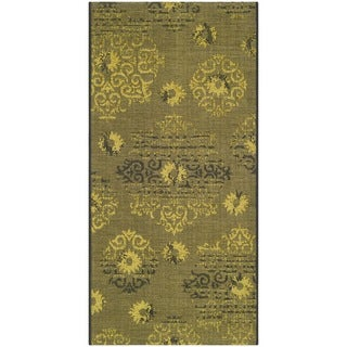 Safavieh Palazzo Black/Green Traditional Over-Dyed Polypropylene/Chenille Rug (2' 6 x 5')