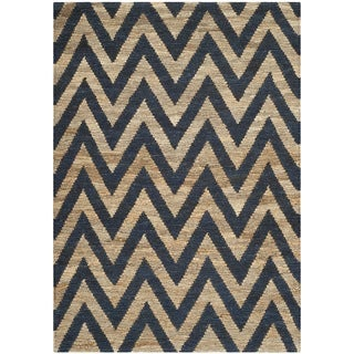 Safavieh Hand-knotted Organic Blue/ Natural Wool Rug (4' x 6')