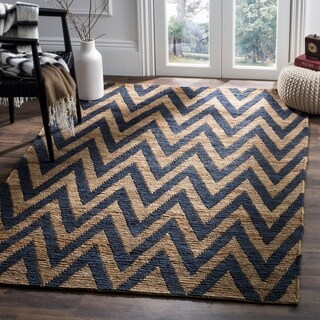Safavieh Hand-knotted Organic Blue/ Natural Wool Rug (5' x 8')