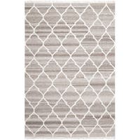 Safavieh Hand-woven Natural Kilim Light Grey/ Ivory Wool Rug - 4' x 6'