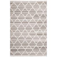 Safavieh Hand-woven Natural Kilim Light Grey/ Ivory Wool Rug - 5' x 8'