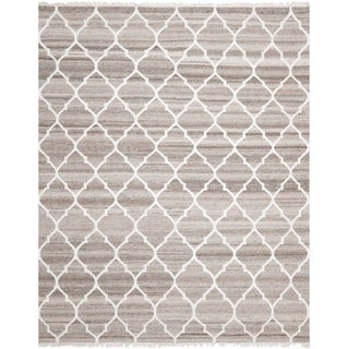 Safavieh Hand-woven Natural Kilim Light Grey/ Ivory Wool Rug (8' x 10')