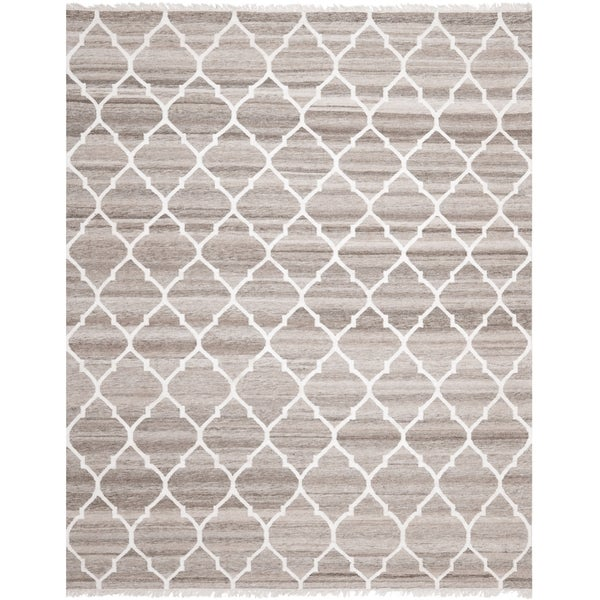 Safavieh Hand-woven Natural Kilim Light Grey/ Ivory Wool Rug - 8' x 10'
