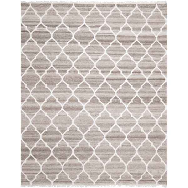 Safavieh Hand-woven Natural Kilim Light Grey/ Ivory Wool Rug - 9' x 12'