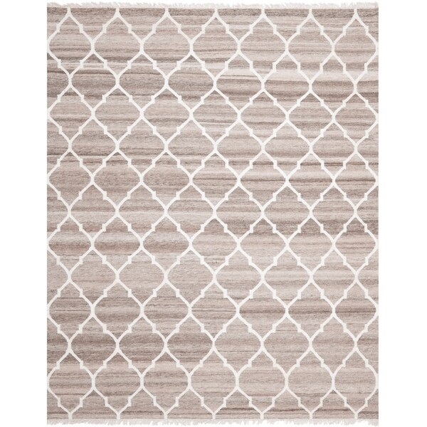Safavieh Hand-woven Natural Kilim Light Grey/ Ivory Wool Rug - 9' x 12'