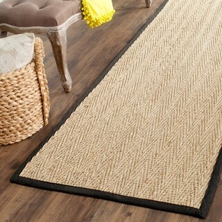 "Safavieh Casual Natural Fiber Natural / Black Sisal Sea Grass Rug - 2'6"" x 18'"