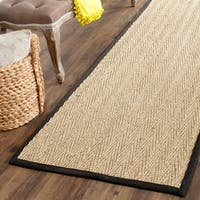 Safavieh Casual Natural Fiber Natural / Black Sisal Sea Grass Rug - 2'6 x 20'