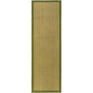 Safavieh Casual Natural Fiber Herringbone Natural and Olive Border Seagrass Runner (2'6 x 22')