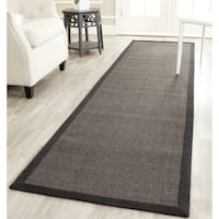 Safavieh Casual Natural Fiber Charcoal and Charcoal Border Sisal Runner Rug - 2'6 x 18'