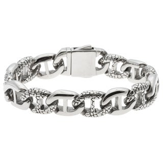 La Preciosa Men's Stainless Steel Engraved Link Bracelet