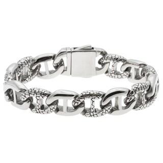 La Preciosa Men's Stainless Steel Engraved Link Bracelet