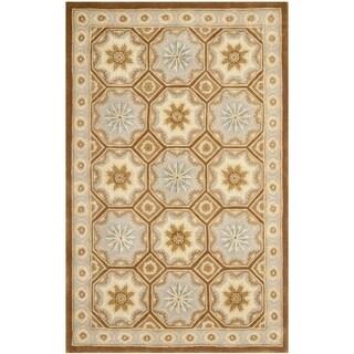 Safavieh Hand-made Naples Ivory/ Brown Wool Rug (9'6 x 13'6)