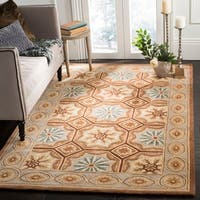 Safavieh Hand-made Naples Ivory/ Brown Wool Rug - 9'6 x 13'6