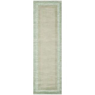 Safavieh Handmade Impressions Modern Beige/ Green New Zealand Wool Rug - 2'3 x 6'