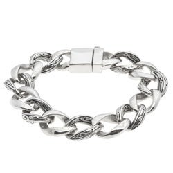 La Preciosa Men's Stainless Steel Stylized Link Bracelet
