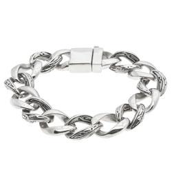 La Preciosa Men's Stainless Steel Stylized Link Bracelet