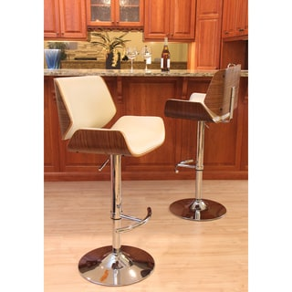 Santi Mid-century Modern Adjustable Wood Barstool