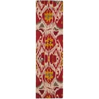 "Safavieh Hand-made Ikat Ivory/ Red Wool Rug - 2'3"" x 12'"
