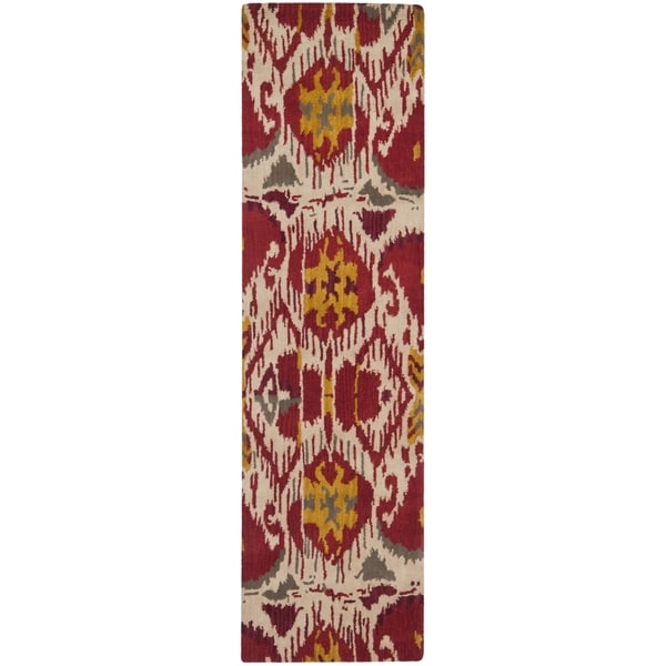 Safavieh Hand-made Ikat Ivory/ Red Wool Rug (2'3 x 12')