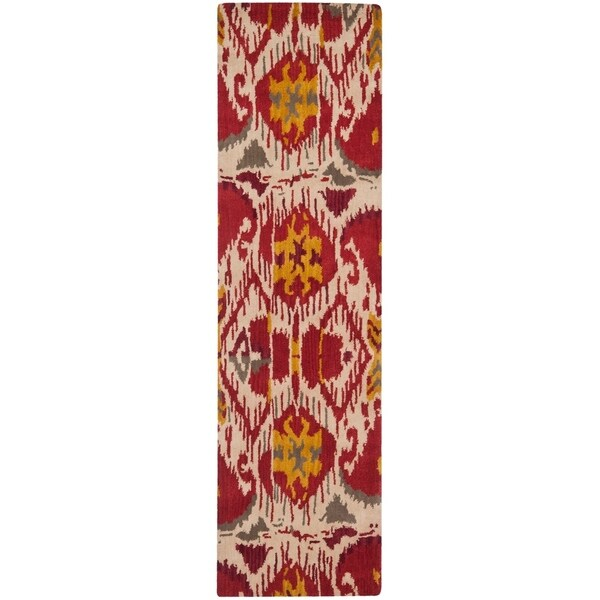 "Safavieh Hand-made Ikat Ivory/ Red Wool Rug - 2'3"" x 12'"