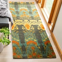 "Safavieh Hand-made Ikat Olive/ Gold Wool Rug - 2'3"" x 10'"