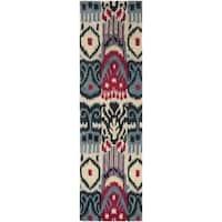 Safavieh Handmade Ikat Beige/ Blue Wool Rug - 2'3 x 10'
