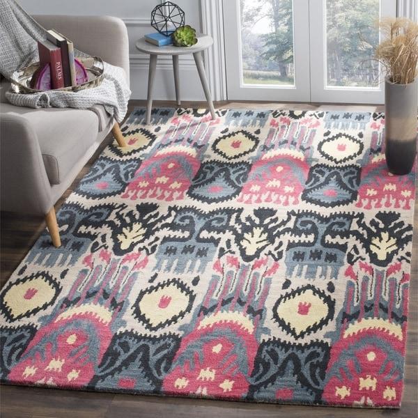 Safavieh Hand-made Ikat Beige/ Blue Wool Rug - 9' x 12'
