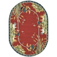 Safavieh Hand-made Chelsea Burgundy Wool Rug - 7'6' x 9'6' oval