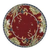 Safavieh Hand-made Chelsea Burgundy Wool Rug - 8' x 8' Round