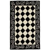 Safavieh Hand-made Chelsea Black/ Ivory Wool Rug - 2'6 x 5'