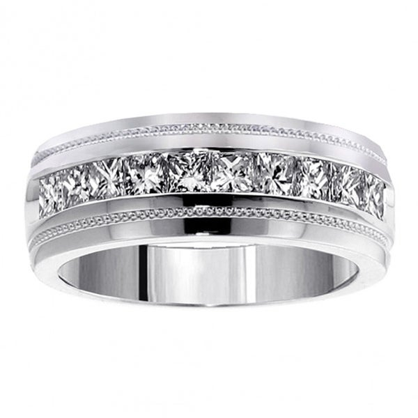 White Solid Gold Mens Diamond Wedding Band 0.38 Ctw