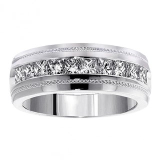 Men's 14k White Gold 1ct TDW Channel Diamond Wedding Ring
