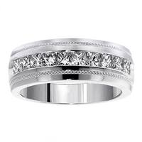 Men's White Gold 1ct TDW Princess Cut Channel Diamond Wedding Ring