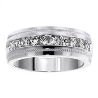 Men S White Gold 1ct Tdw Princess Cut Channel Diamond Wedding Ring