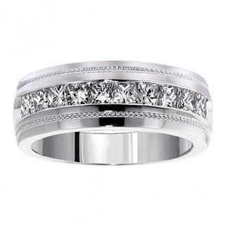 Men's White Gold 1ct TDW Princess Cut Channel Diamond Wedding Ring (More options available)