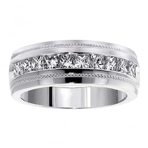 Men's White Gold 1ct TDW Princess Cut Channel Diamond Wedding Ring