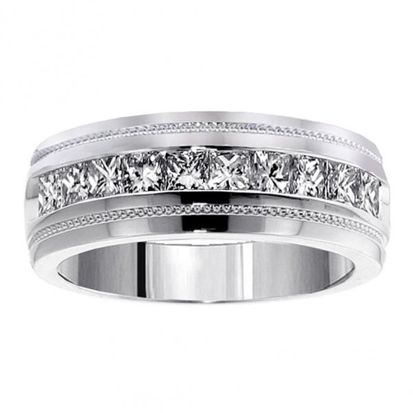 Shop Men's White Gold 1ct TDW Princess Cut Channel Diamond