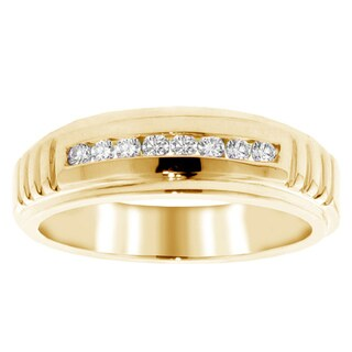 14k Gold 1/3 Ct TDW Men's Diamond Channel Set Wedding Band