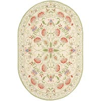Safavieh Hand-made Chelsea Beige/ Green Wool Rug (7'6 x 9'6 Oval)