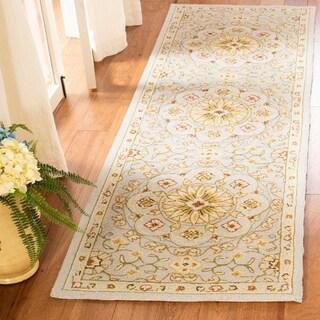 Safavieh Hand-made Chelsea Teal/ Green Wool Rug (2'6 x 8')