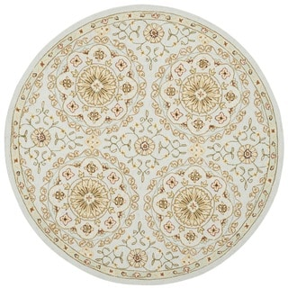 Safavieh Hand-made Chelsea Teal/ Green Wool Rug (3' Round)
