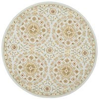Safavieh Hand-made Chelsea Teal/ Green Wool Rug - 3' Round